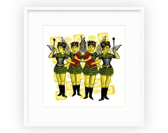 The Winged Girls, framed print by Liza Cowan, digital collage made with repurposed vintage matchbox labels and rubber stamps,