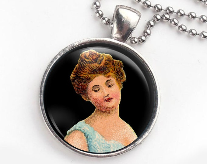 Victorian lady keychain and pendant, image altered from old matchbox label. Free Shipping to USA