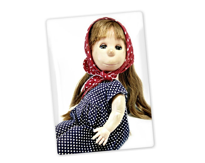 Fridge magnet of Poor Pitiful Pearl, photo portrait, 1950's classic doll, created by William Steig, favorite doll. granny's doll