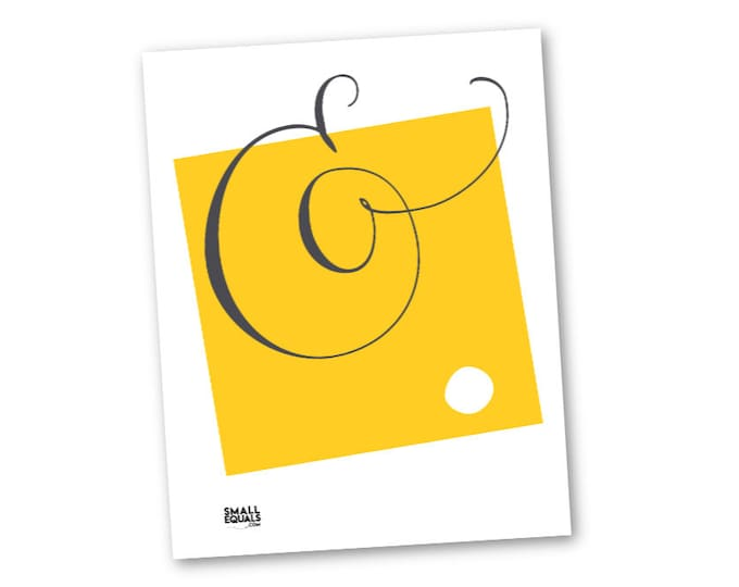 Printable wall art. Black ampersand on yellow square, calligraphy design, abstract home decor, gift for writer, teacher