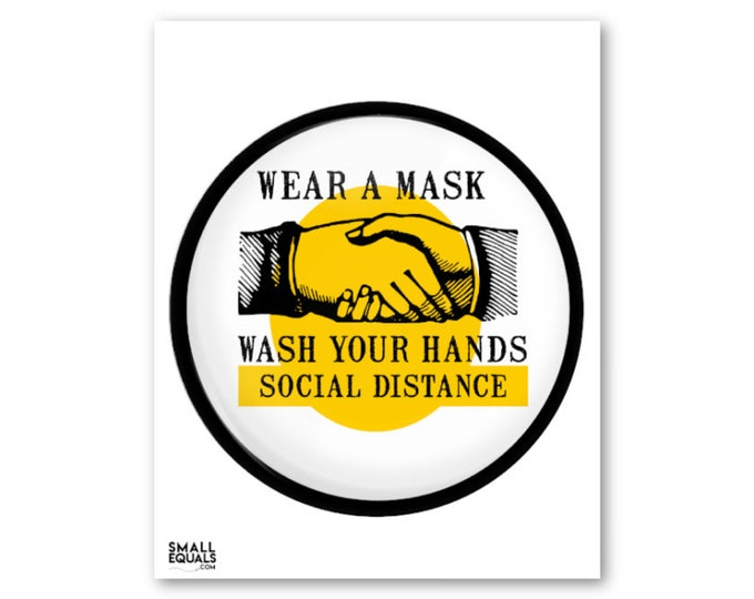 wear a mask, wash your hands, social distance, digital download poster, public health poster for work school or home