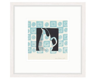 Russel Wright Pitcher with Blue Motif. Framed digital print of original silkscreen. FREE SHIPPING,  Framed size 20.25 x 20.25