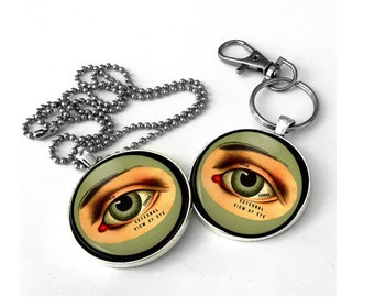 Vintage Eye, Eye jewelry, optometrist gift, eye keychain. Free Shipping to US.