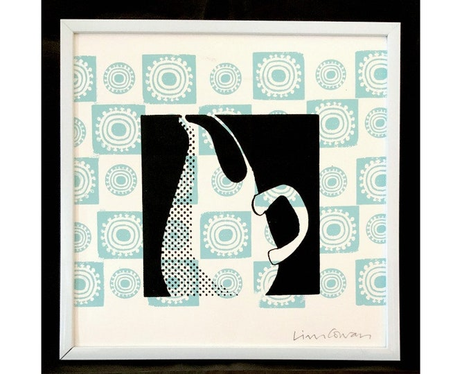 Russel Wright pitcher, midcentury modern, two color silkscreen print by Liza Cowan.