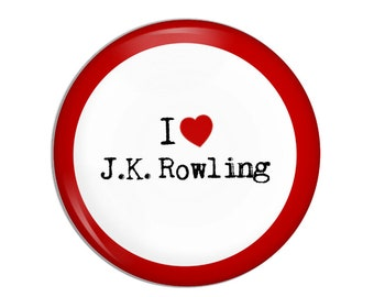 I love J.K. Rowling Button, Harry Potter, children's literature, famous authors, childrens books, classic books,
