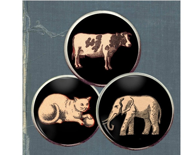 Matchbox label animal button trio,: black and white elephant, cat button, cow
