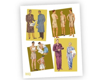 Pattern boy pinup, digital download, dapper vintage dudes, sewing pattern men's clothing,  vintage sewing, art for home or work, mid century