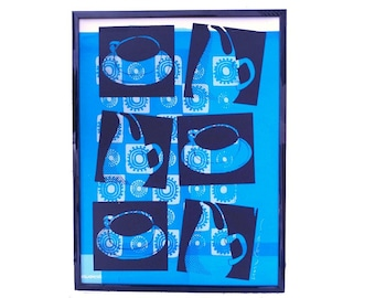 Russel Wright cup and pitcher, Liza Cowan silkscreen test print, blue and black print