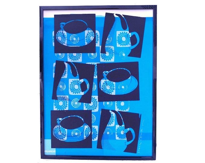 Russel Wright cup and pitcher, Liza Cowan silkscreen test print, blue and black print