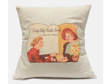 100% cotton square decorative pillow case. Vintage needle pack image. Two sizes. Free shipping in US