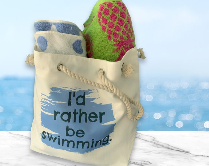 I'd Rather Be Swimming, tote bag with rope handle. Zip pocket, snap closure, free shipping