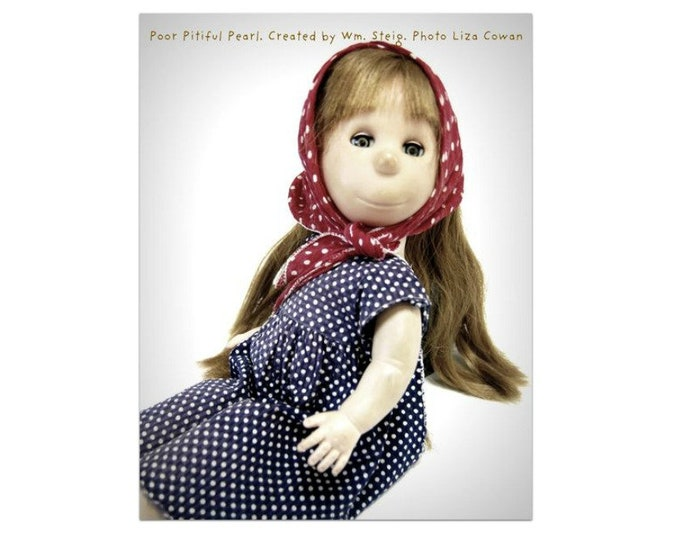Fridge magnet of Poor Pitiful Pearl, photo portrait, 1950's classic doll, created by William Steig,
