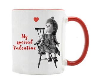 Poor Pitiful Pearl Valentine's Day mug, 11 oz cup, mug for doll lovers, limited edition, doll collector gift, William Steig, mid century