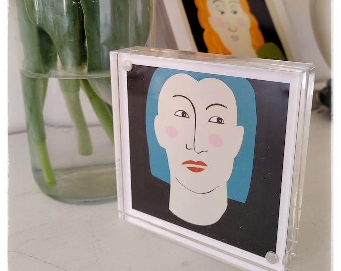 Small art print, Shelf art, Apartment size print, Canetti magnet frame, Acrylic frame, Vermont artist