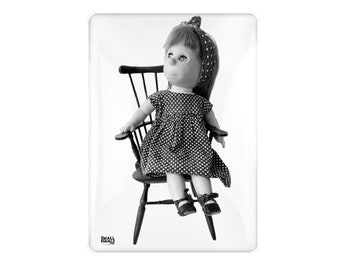 Poor Pitiful Pearl portrait in black and white, fridge magnet, doll picture, doll gift, doll lover, mid century, william steig