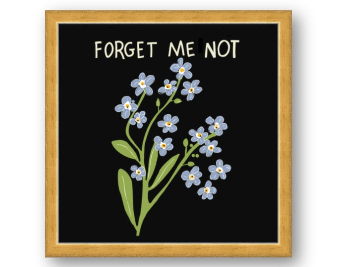 Forget Me Not, Spring flower digital print by Liza Cowan. Framed in Gold or White. Free Shipping