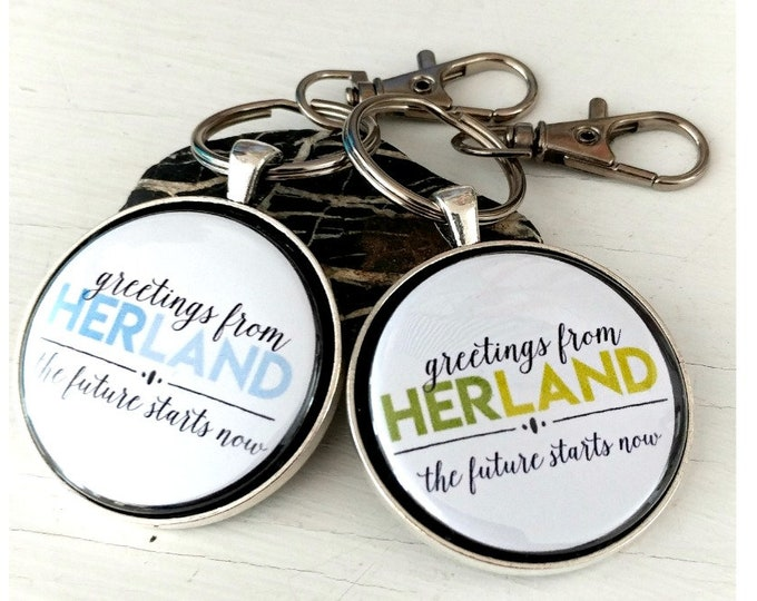 Herland keychain and pendant, feminist keychain, feminist pendant, keychain for her,  new driver gift, new homeowner gift