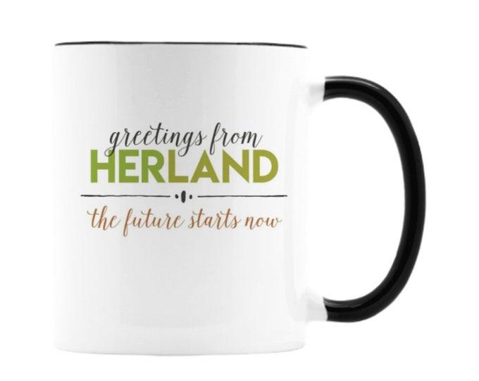 Feminist mug, Greetings From Herland, The Future Starts Now,