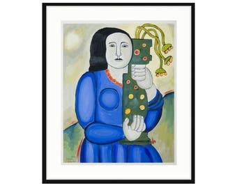 Framed digital print by Liza Cowan, based on art by Fernand Leger. Woman holding vase.