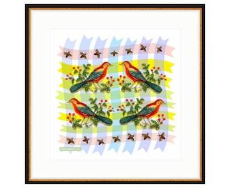 Red Bird Quartet, framed digital print by Liza Cowan featuring vintage birds on geometric background.