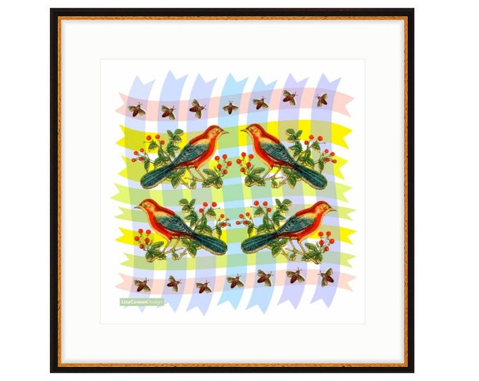 Red Bird Quartet. Printed and framed digital collage by Liza Cowan. 23.25 x 23.25. Two frame options. FREE SHIPPING