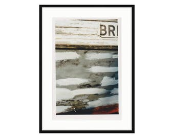 """Abstract shipyard photo. """"BR"""" from the series Shipyard Archeology. Printed and framed, three sizes and two frame options. Free shipping"""