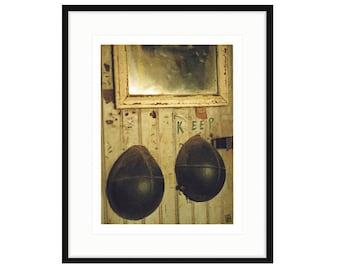 "KEEP. Framed shipyard print,  ""Shipyard Archeology"" ©LIza Cowan. Mysterious shapes, mirror hanging on wall in machine shop"