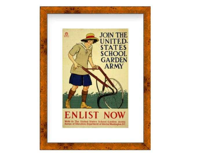 Join The United States School Garden Army, Enlist Now, reproduction of 1918 poster by Edward Penfield,