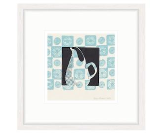 Russel Wright Pitcher with Blue Motif. Framed digital print of original silkscreen. FREE SHIPPING,  Framed size 20.25 x 20.25