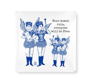 women rule magnet, xmas stocking stuffer for mom, sister, feminist, inspiration, winged girls, woman power, strong women gift