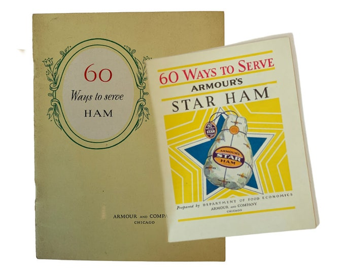 1930's recipe book, 60 Ways To Serve Ham, full color illustrations, Armour and Company, mid century food, vintage pamphlet, advertising