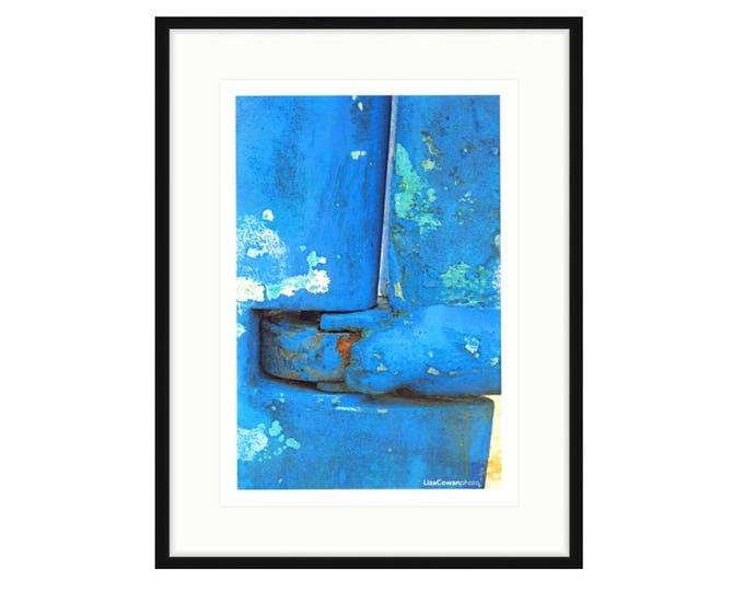 Blue Rudder, framed shipyard print by Liza Cowan, photo taken at Greenport NY Shipyards.