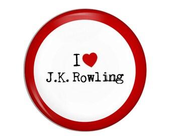 I love J.K. Rowling Button, heart, Harry Potter, children's literature, famous authors, childrens books, classic books,