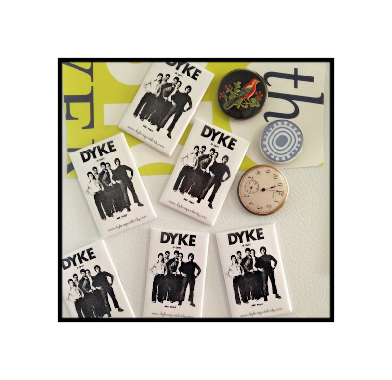 Lesbian Fridge Magnet DYKE IS OUT iconic poster 1974 image 0