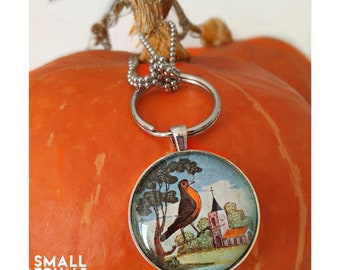 Robin redbreast keychain and necklace, ball chain included, bird lover gift, bird watcher, stocking stuffer