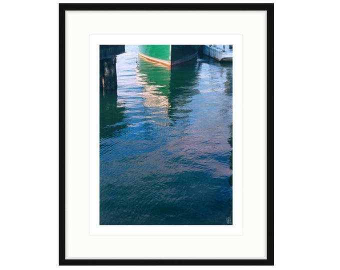 MISS NANCY. Framed shipyard print, abstract view of the bow of a small ship, photo by Liza Cowan in Greenport NY.