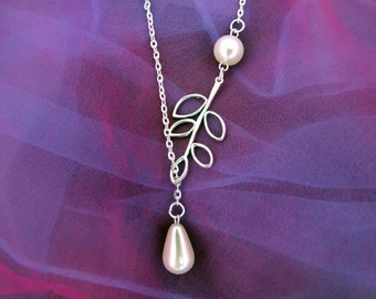 Silver Leaf and Pearl Necklace