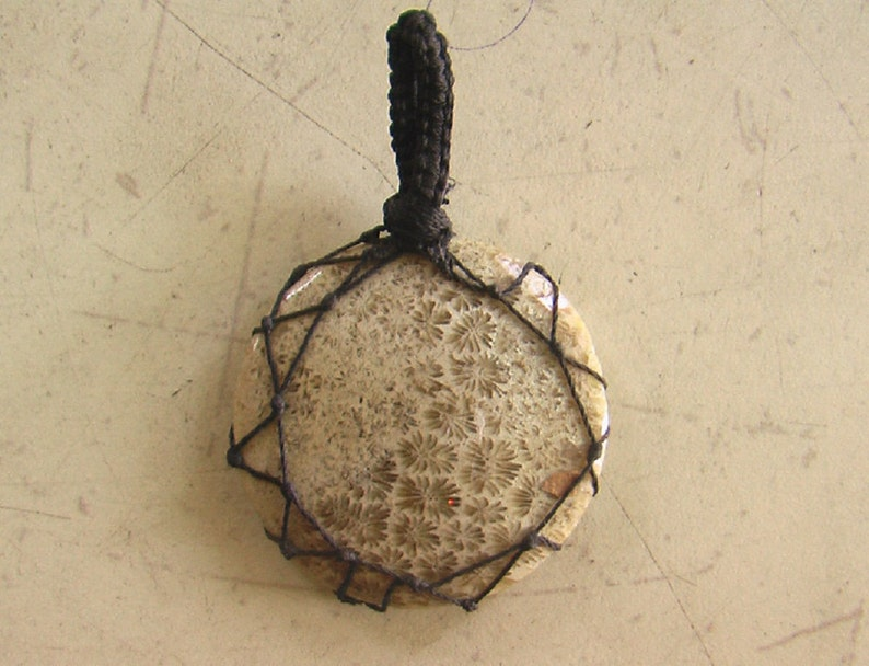 Natural Beautiful Fossil coral Cabochon Gemstone  Macrome Pendant   Pendent Gemstone  Size-34x34x4 mm  Weight-7.7 gm
