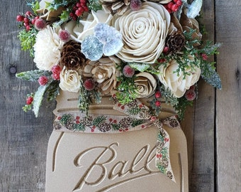 Wood Flower Mason Jar Sign with Wood Flowers and Holiday Greenery and Filler