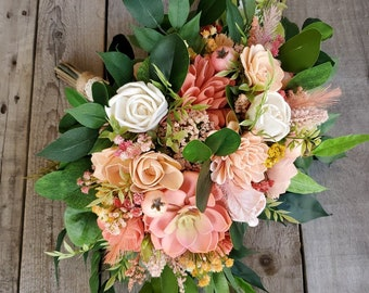 READY TO SHIP Flat Back Summer Inspired Bouquet with Pinky Peach, Peach, Cream, and Coral Wood Flowers, Artificial Succulent, Bridal Bouquet