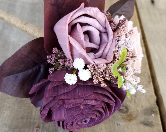 READY TO SHIP Dark Plum, Mauve, Light Pink, and Cream Wood Flower Bouquet