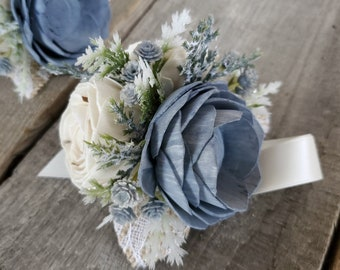 Winter Inspired Wood Flower Wrist Corsage