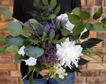 READY TO SHIP Plum and White Silk Flower Bouquet with Eucalyptus and Purple Thistle