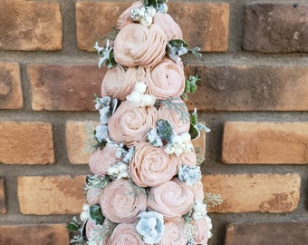 READY TO SHIP Champagne Pink Wood Flower Christmas Tree with Flocked Eucalyptus and Snowy Berries