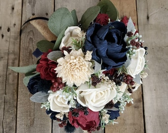 Burgundy, Navy, and Cream Wood Flower Bouquet with blueberries, dusty miller, sage leaves, silver dollar eucalyptus, thistle, bridal bouquet