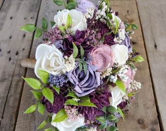 Garden Inspired Wood Flower Bouquet with Plum, Dusty Lavender, Blush Pink, and Cream Wood Flowers