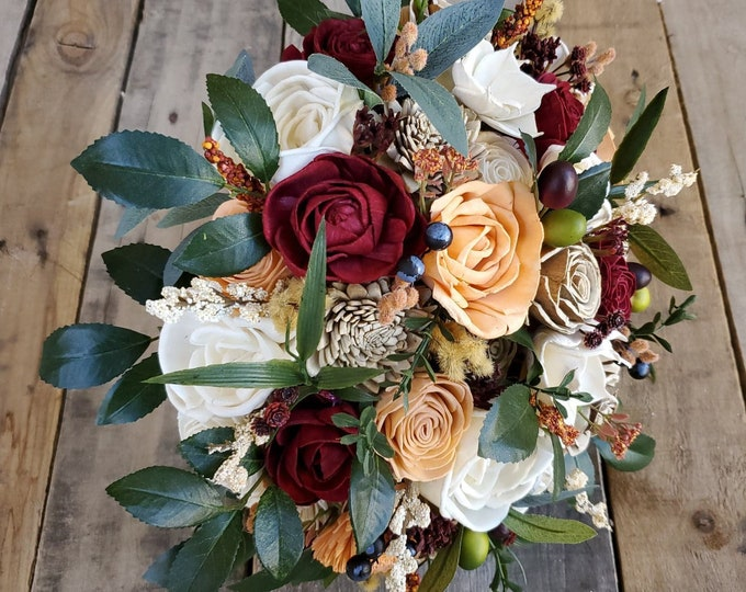 Featured listing image: Burgundy, Peach, Bark, and Cream Wood Flower Bouquet with Olive Leaves and Ruscus