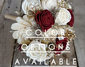 Gold Brooch and Glitter Wood Flower Bouquet, mulitple colors available, bridal bouquet, bridesmaid bouquet, flower girl bouquet