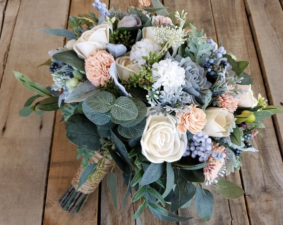 READY TO SHIP Premium Wood Flower Bouquet in Slate Blue, Peach, and Cream