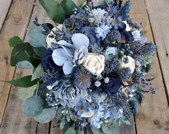 READY TO SHIP Premium Wood Flower Bouquet in Various tones of Blue and Cream